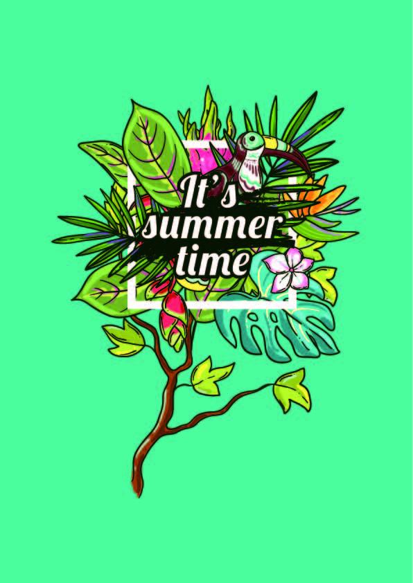 植物花卉字母大嘴鸟拼接印花矢量图服装裁片T恤烫图印花花型素材-POP花型网