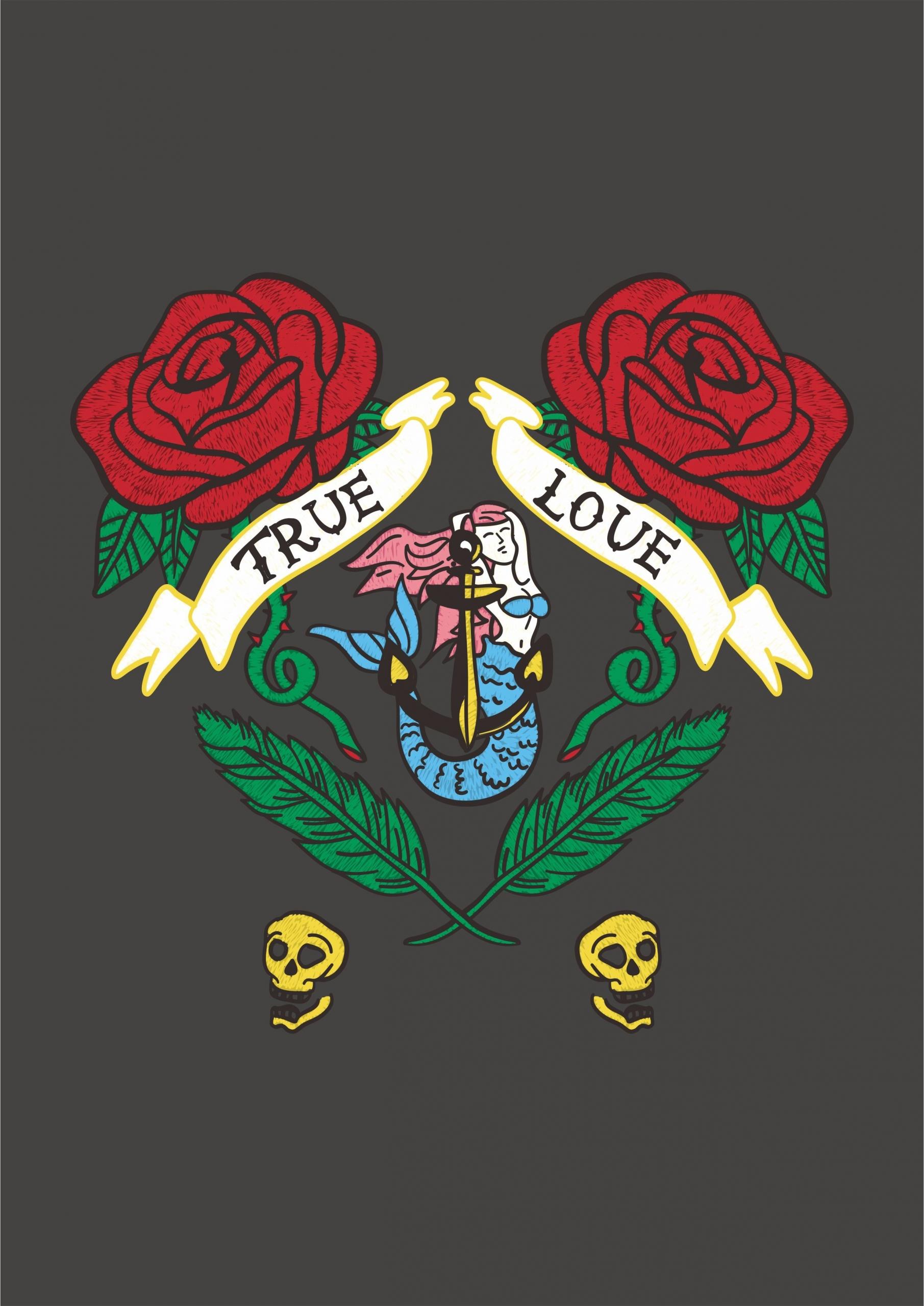 玫瑰花字母美人鱼拼接印花矢量图服装裁片T恤烫图印花花型素材-POP花型网
