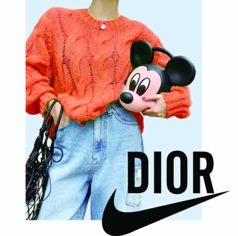 美女图案米奇头像字母DIOR耐克拼接印花矢量图服装裁片T恤烫图印花花型素材-POP花型网