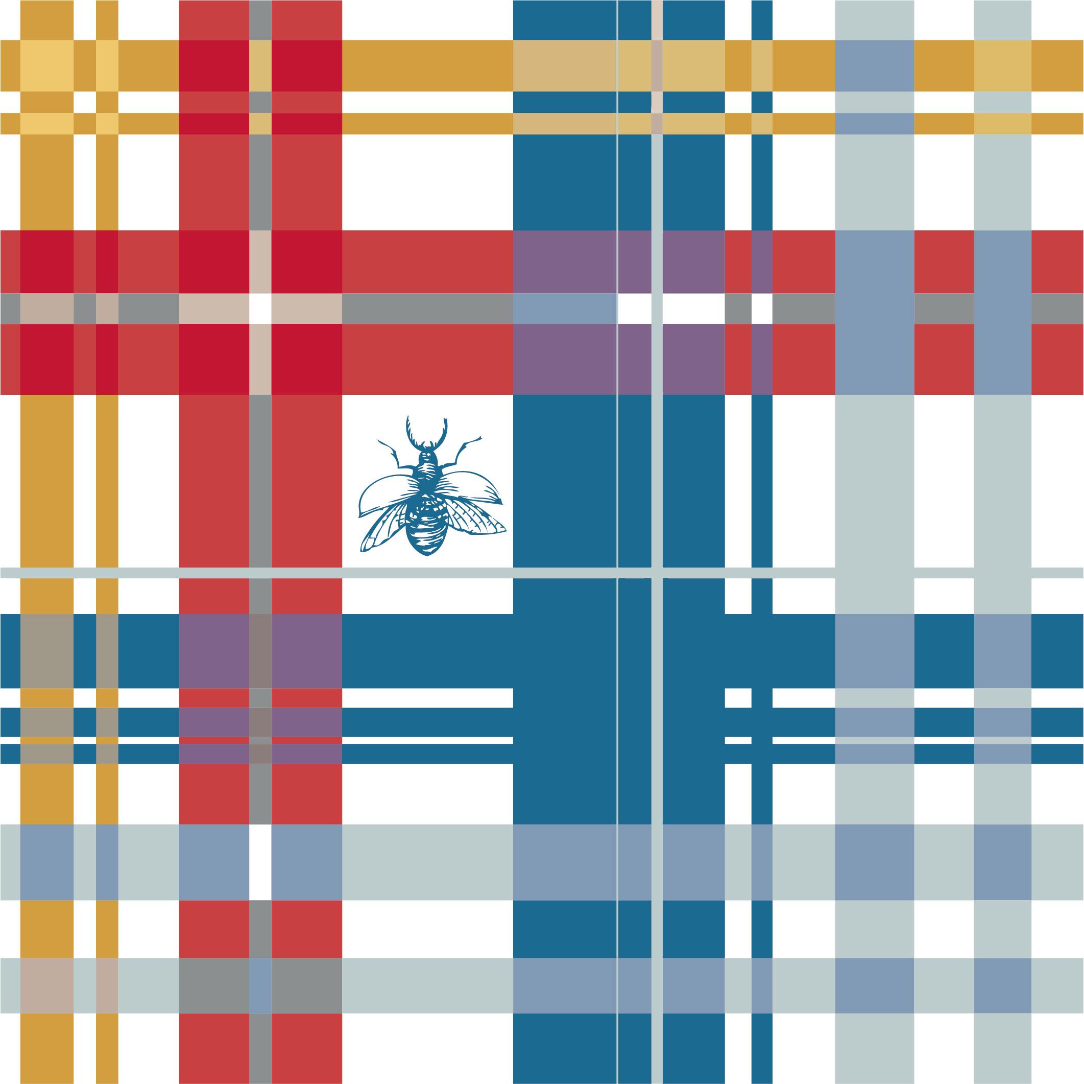多彩线条几何拼接格子印花昆虫图案服装纺织面料数码印花花型素材-POP花型网