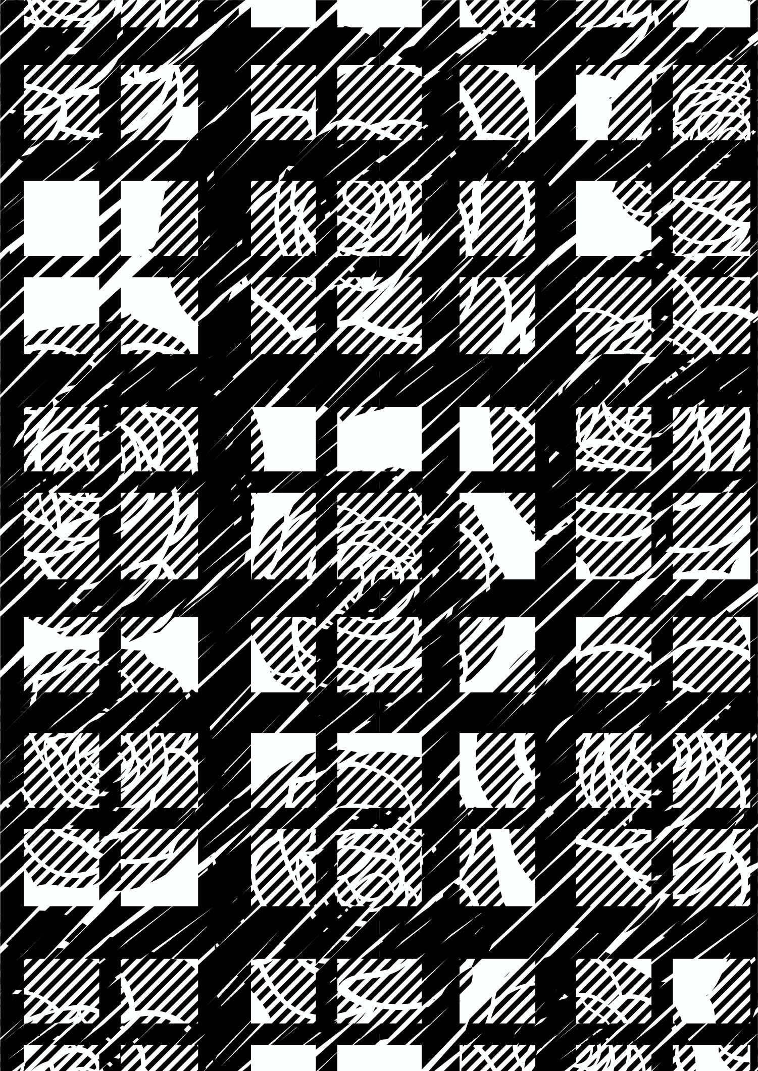 黑白几何格子线条拼接印花矢量图服装纺织面料数码印花花型素材-POP花型网