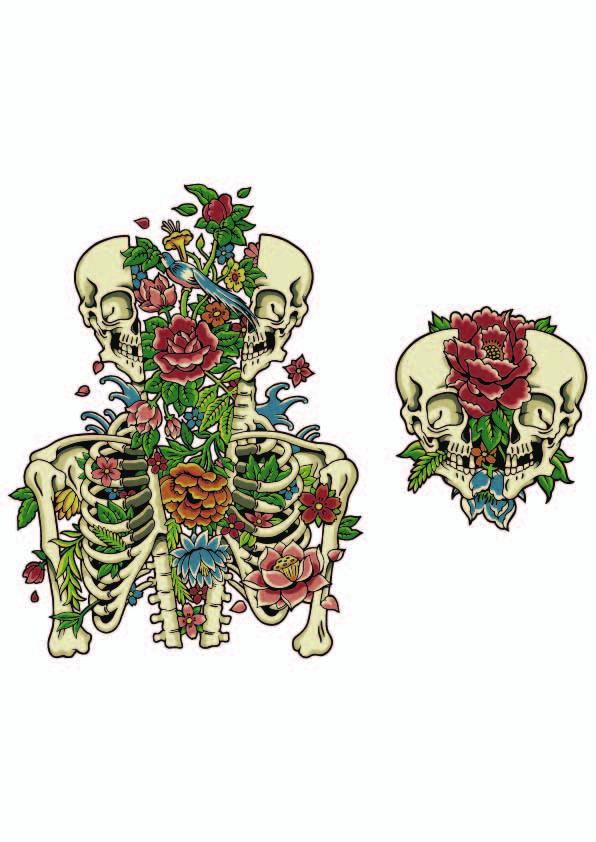 欧美风骷髅头牡丹花拼接印花矢量图服装裁片T恤烫图印花花型素材-POP花型网