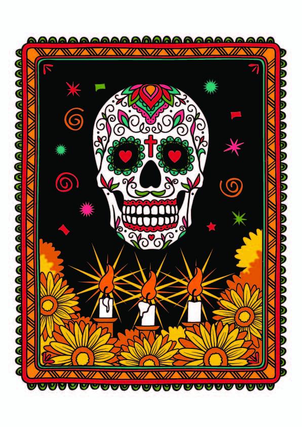 欧美风多彩骷髅头线条菊花拼接印花矢量图服装裁片T恤烫图印花花型素材-POP花型网