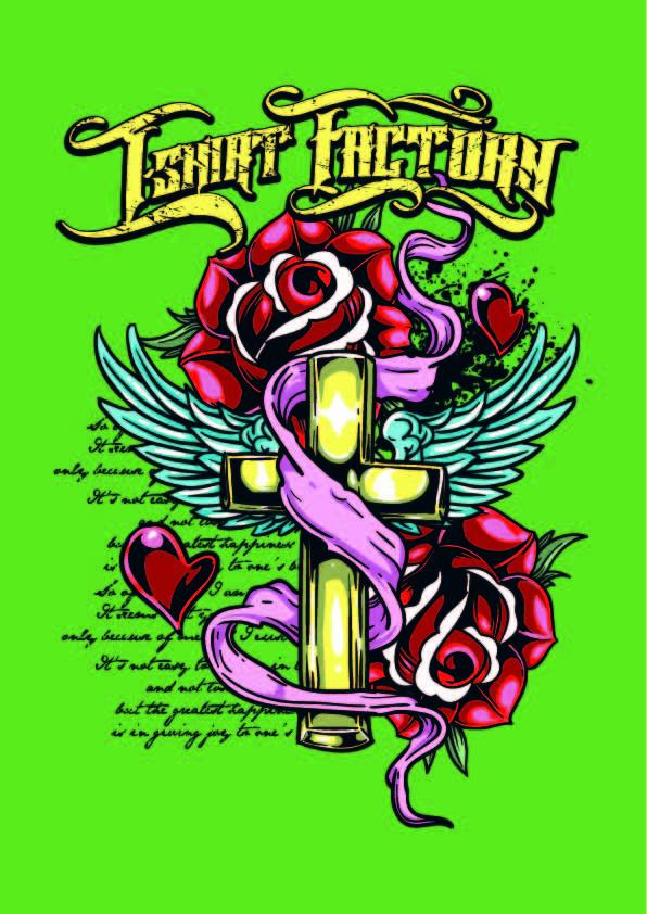 欧美风几何字母花朵十字架印花矢量图服装裁片T恤烫图印花花型素材-POP花型网