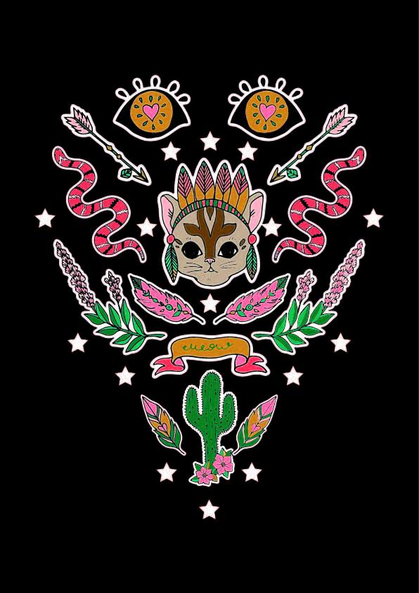 几何花纹蛇酋长猫咪印花矢量图服装裁片T恤烫图印花花型素材-POP花型网
