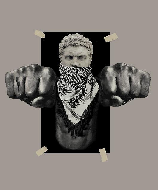 人物拳头闪电印花矢量图服装裁片T恤烫图印花花型素材-POP花型网