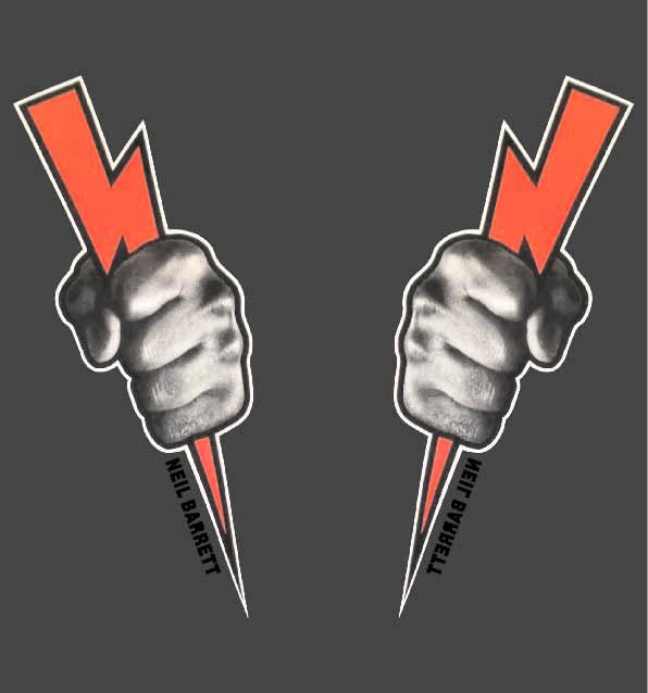 拳头闪电字母印花矢量图服装裁片T恤烫图印花花型素材-POP花型网