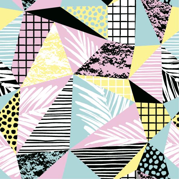 几何图案线条拼接格子印花矢量图服装纺织面料数码印花花型素材-POP花型网