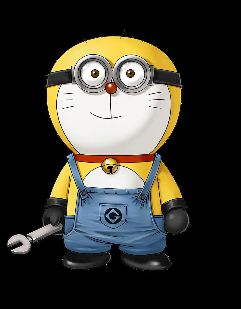 哆啦A梦小黄人造型印花免扣图服装裁片T恤烫图印花花型素材-POP花型网