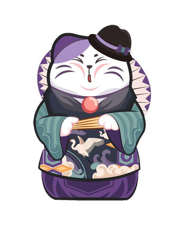 手绘卡通日式招财猫扇子印花矢量图服装裁片T恤烫图印花花型素材-POP花型网