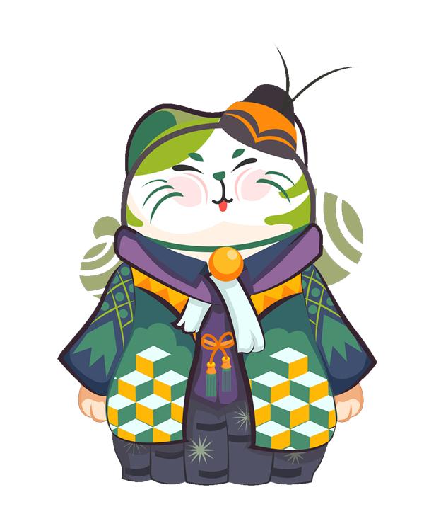 手绘卡通日式招财猫印花矢量图服装裁片T恤烫图印花花型素材-POP花型网