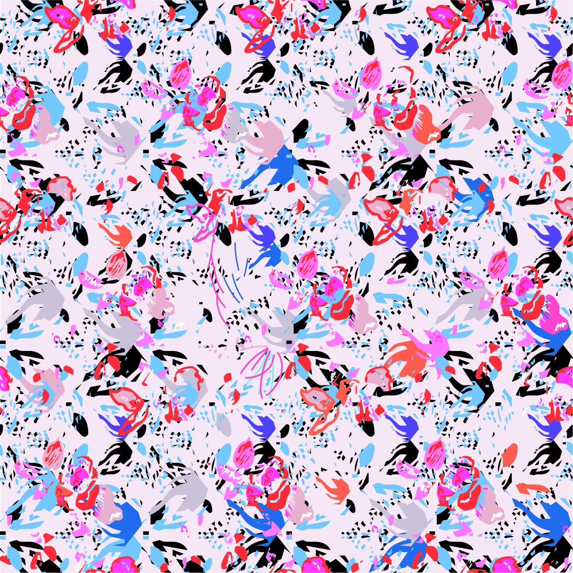 几何色彩涂鸦印花矢量图服装纺织面料数码印花花型素材-POP花型网