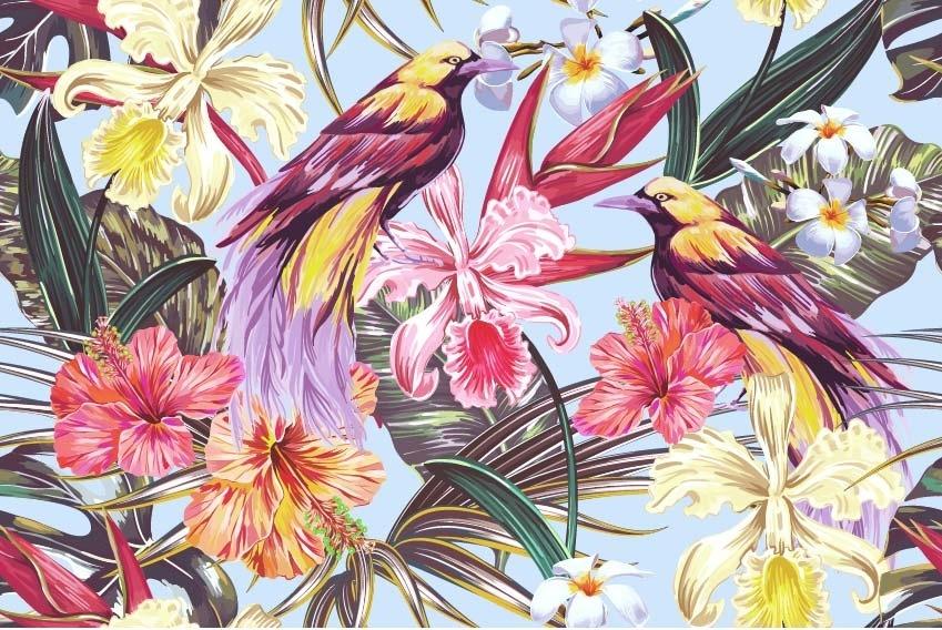 植物花卉鸟类拼接印花矢量图服装纺织面料数码印花花型素材-POP花型网