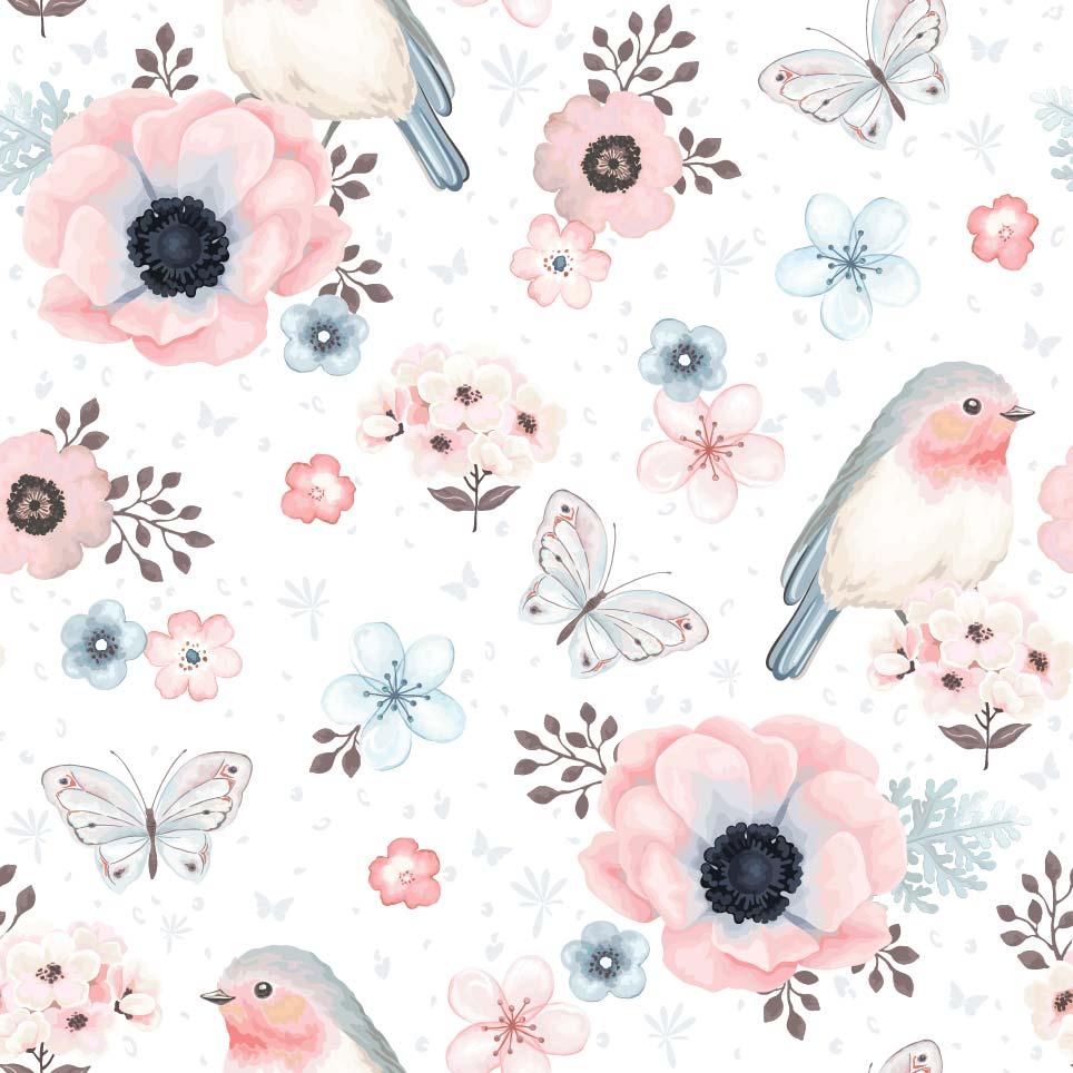几何花卉小鸟蝴蝶印花矢量图服装纺织面料数码印花花型素材-POP花型网