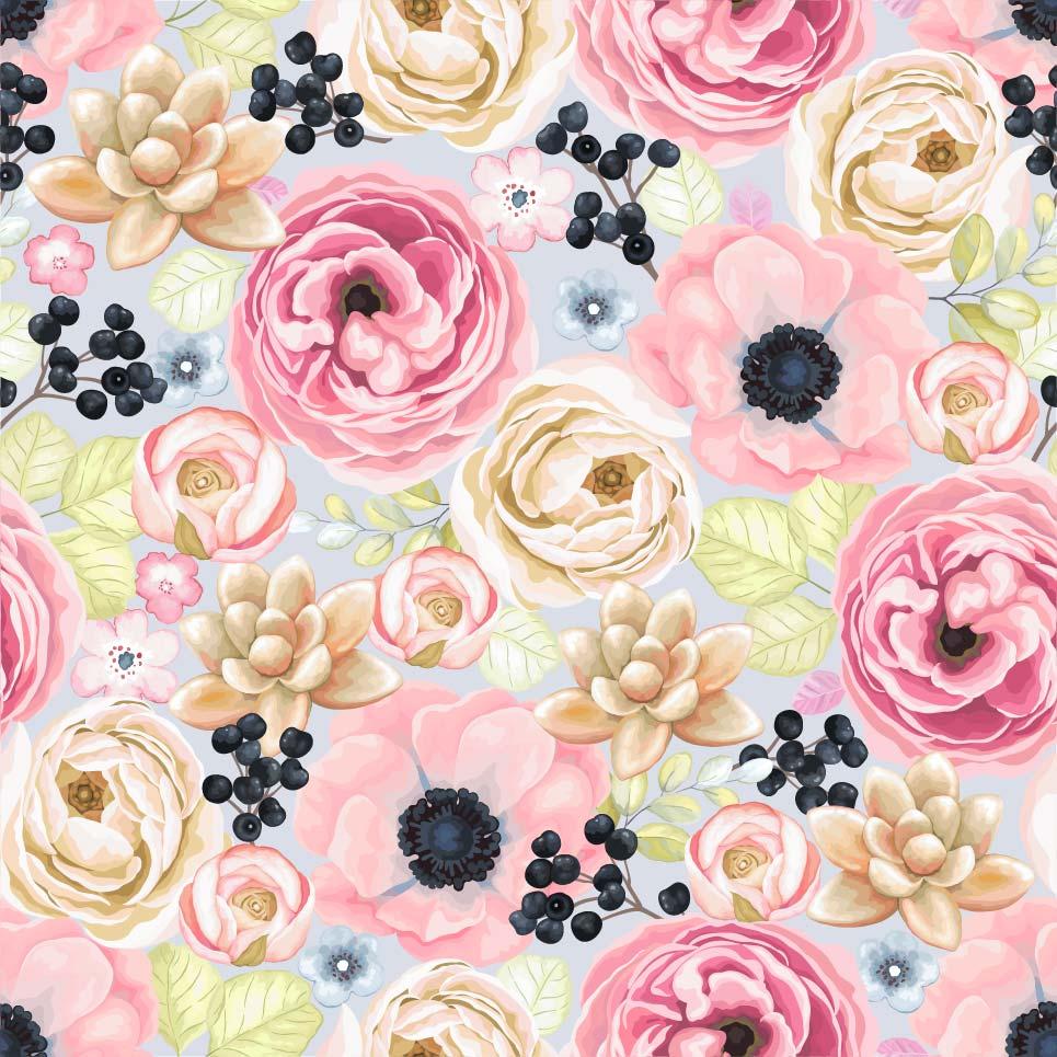 植物牡丹花卉印花矢量图服装纺织面料数码印花花型素材-POP花型网