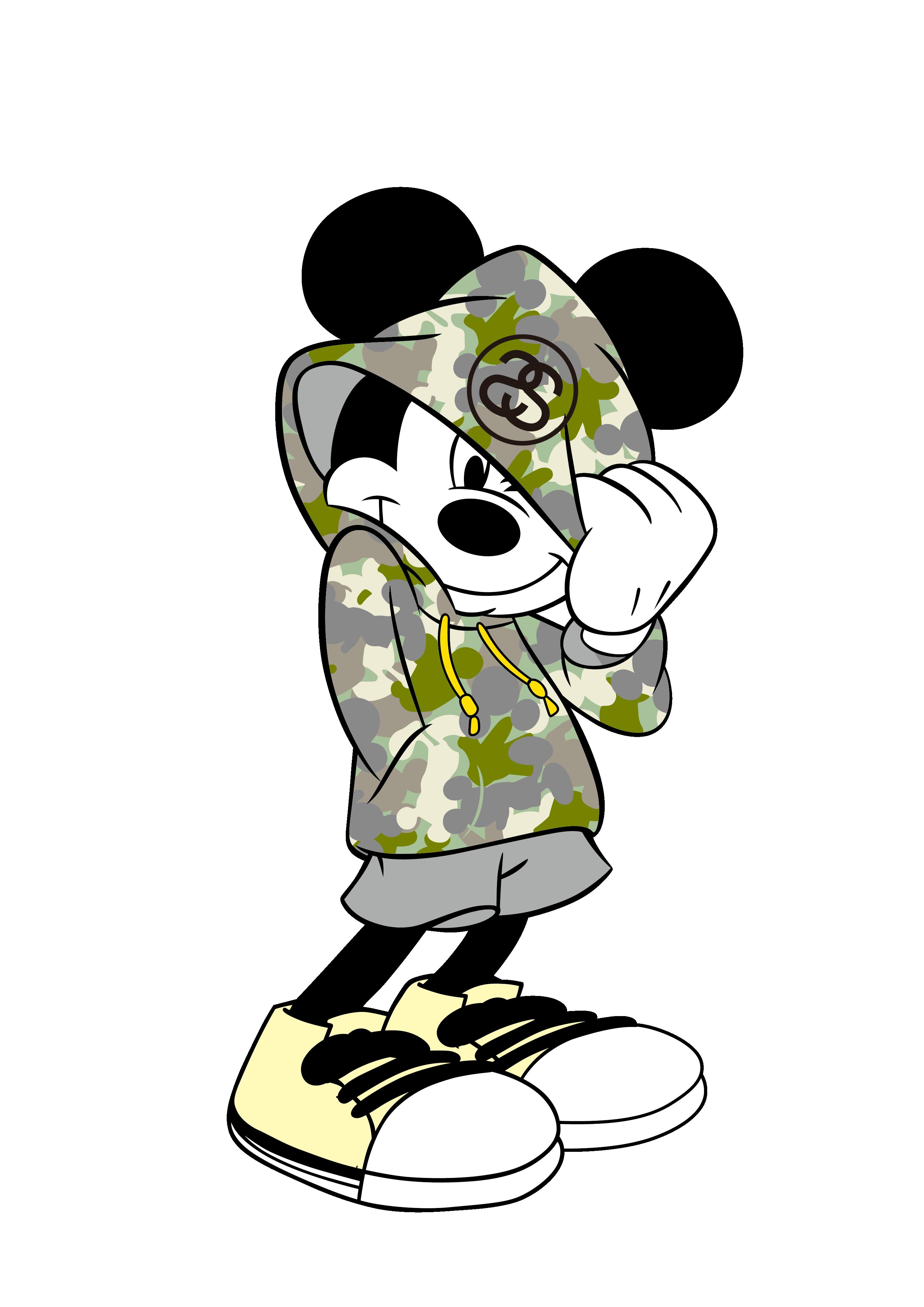卡通动漫米奇潮牌印花矢量图服装裁片T恤烫图印花花型素材-POP花型网