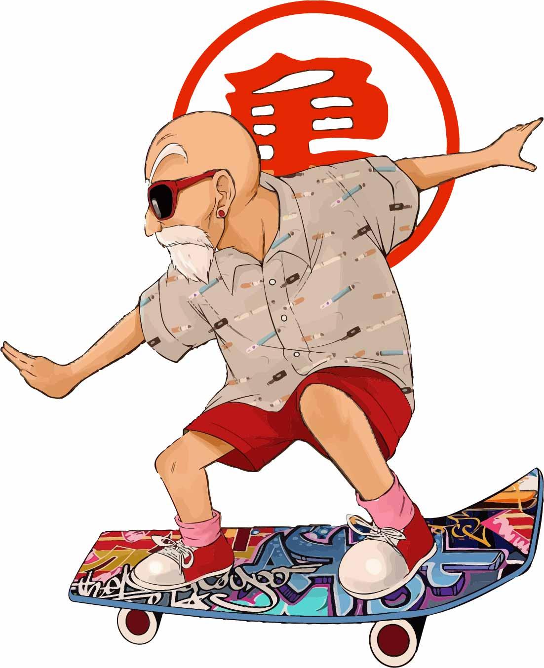 卡通动漫七龙珠龟仙人滑板印花矢量图服装裁片T恤烫图印花花型素材-POP花型网