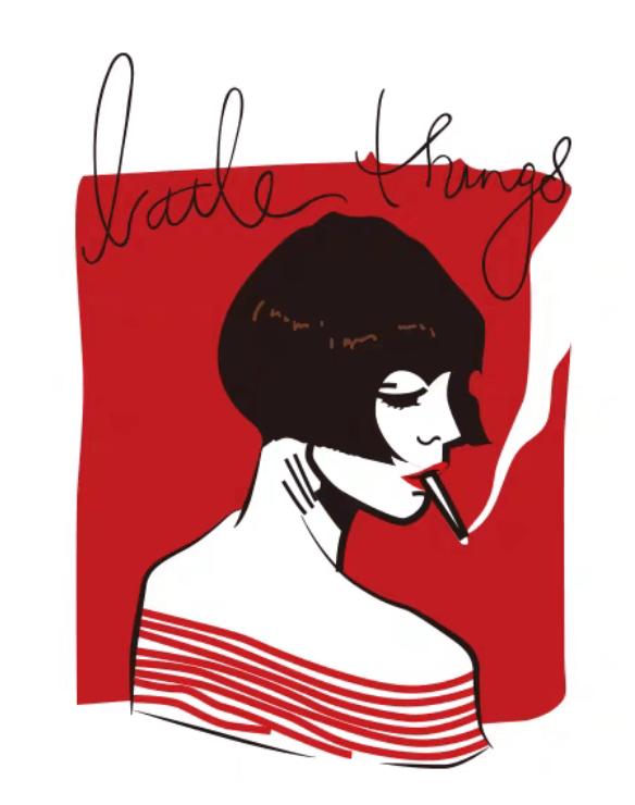 卡通抽烟女孩背景字母潮牌印花矢量图服装裁片T恤烫图印花花型素材-POP花型网