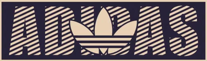潮牌三叶草字母Adidas印花矢量图服装裁片T恤烫图印花花型素材-POP花型网