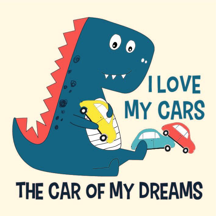 卡通恐龙字母汽车印花矢量图儿童服装裁片T恤烫图印花花型素材-POP花型网
