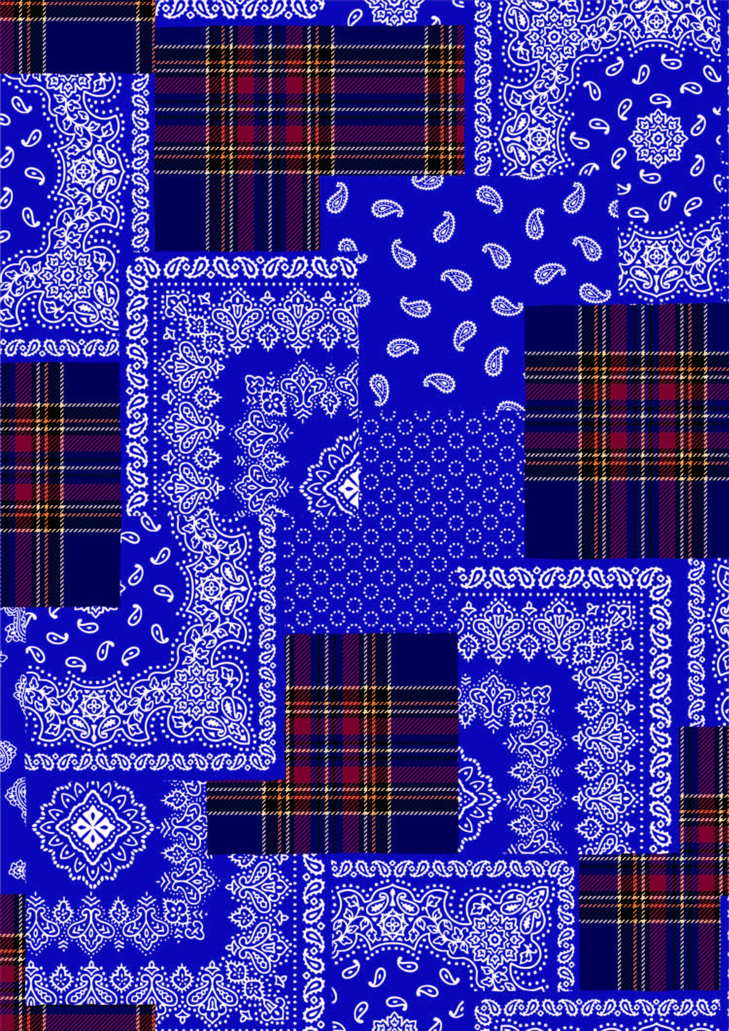 几何格子腰果花拼接印花矢量图服装纺织面料数码印花花型素材-POP花型网