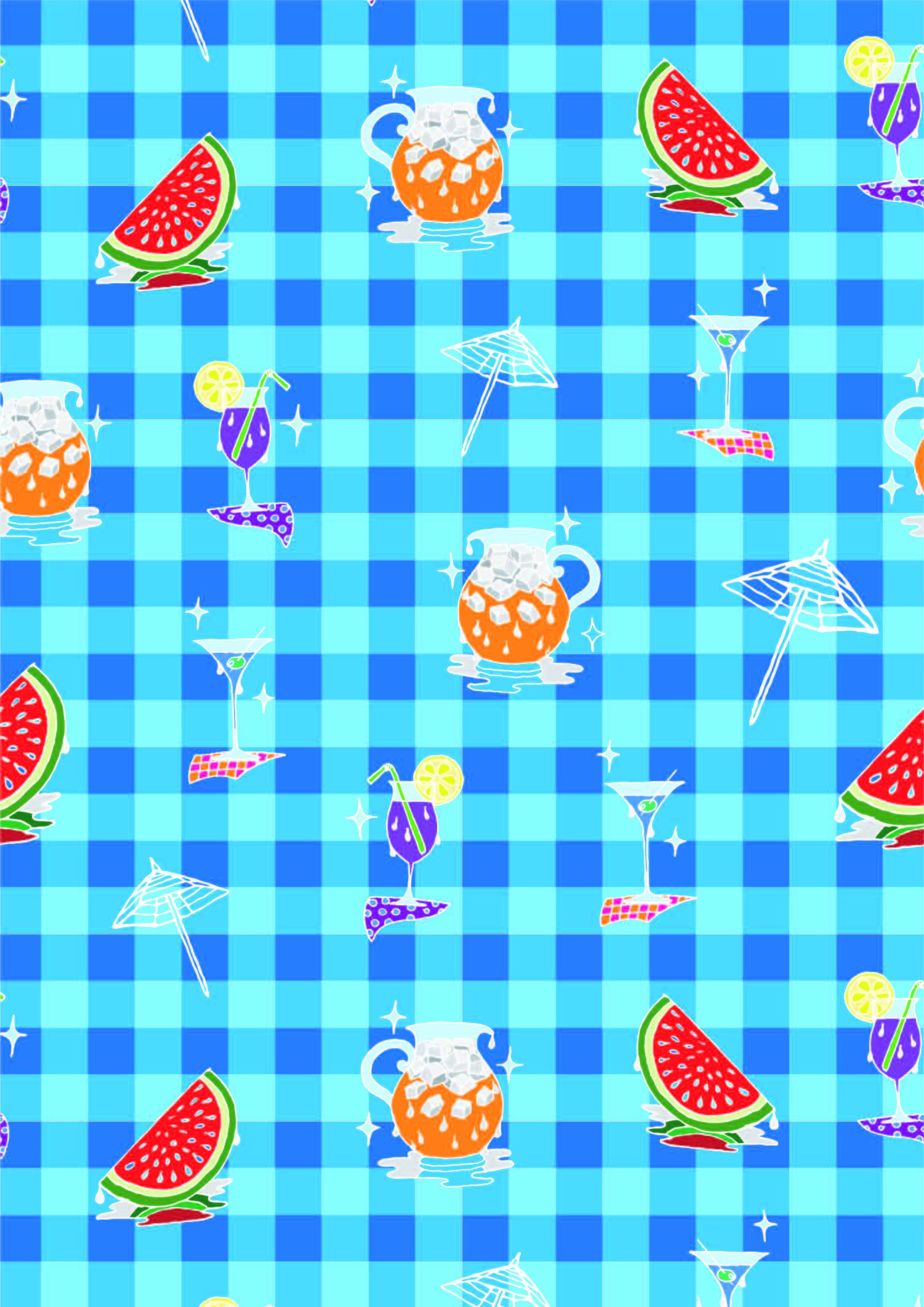 几何格子水果西瓜夏日风印花矢量图服装纺织面料数码印花花型素材-POP花型网