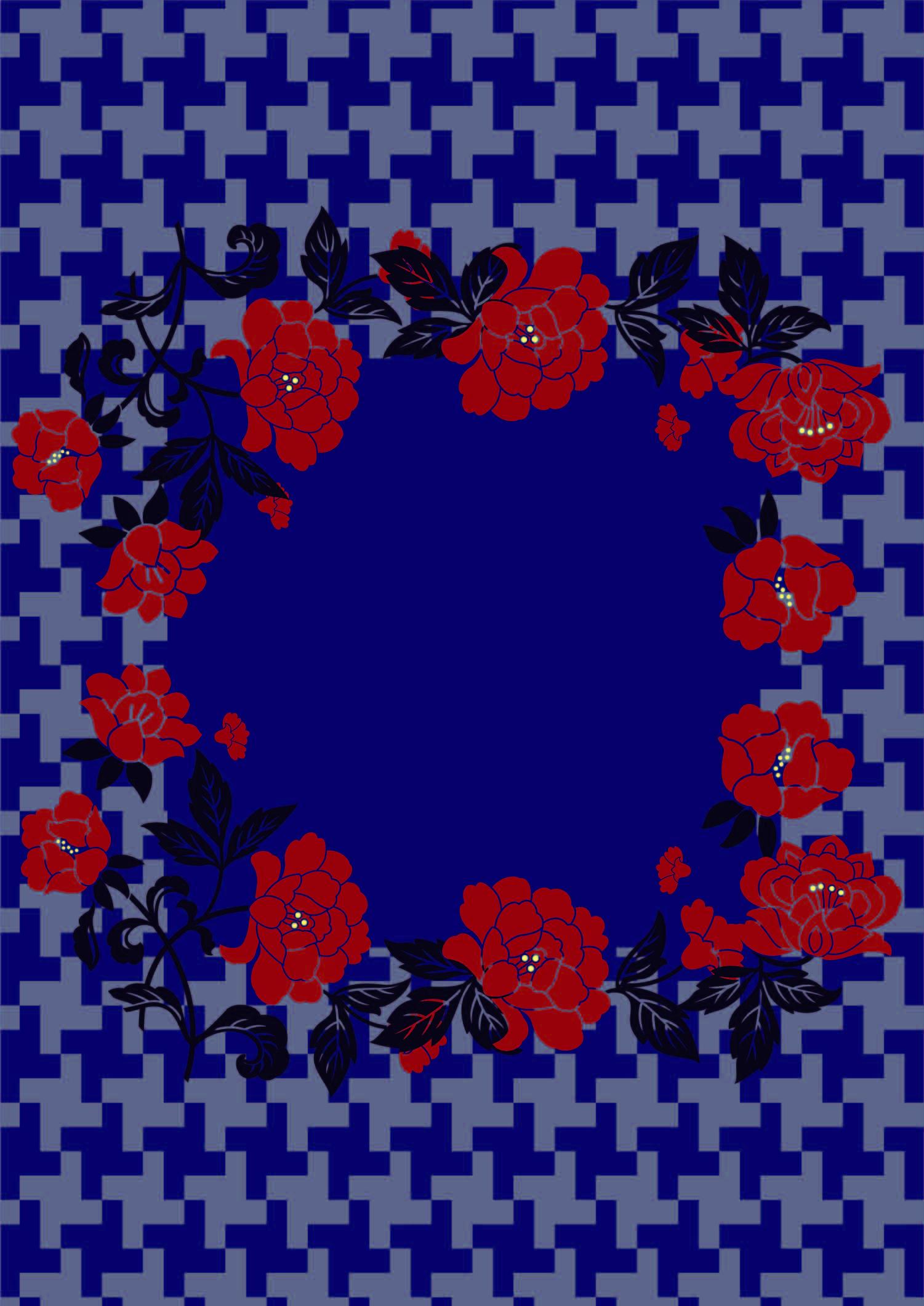 几何图案花卉拼接印花矢量图服装纺织面料数码印花花型素材-POP花型网
