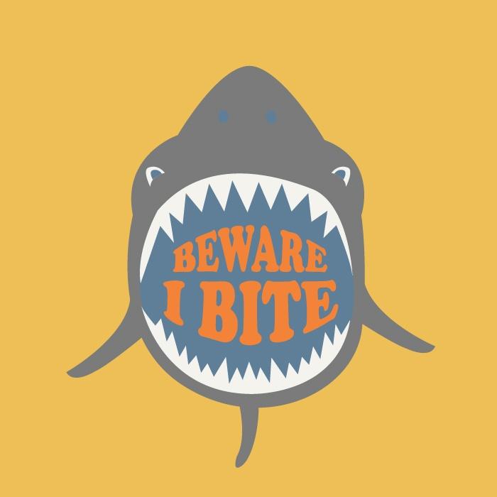 卡通鲨鱼字母印花矢量图服装裁片T恤烫图印花花型素材-POP花型网