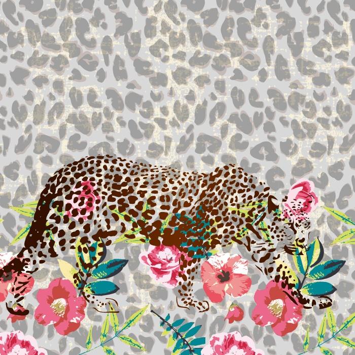 几何豹纹豹子植物花朵印花矢量图服装纺织面料数码印花花型素材-POP花型网