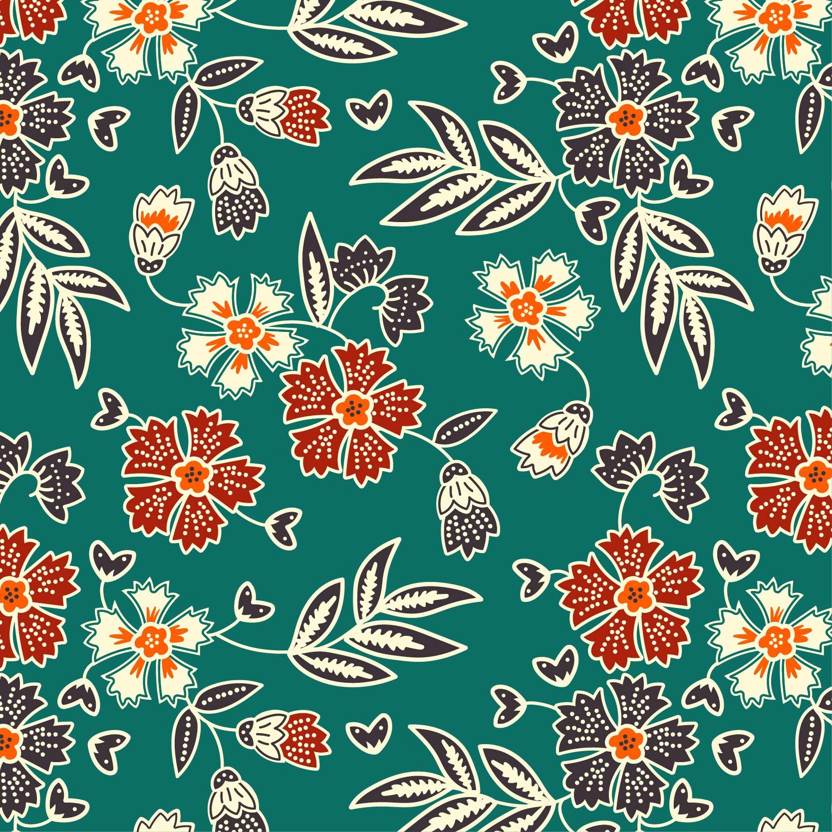 植物花朵拼接印花矢量图服装纺织面料数码印花花型素材-POP花型网