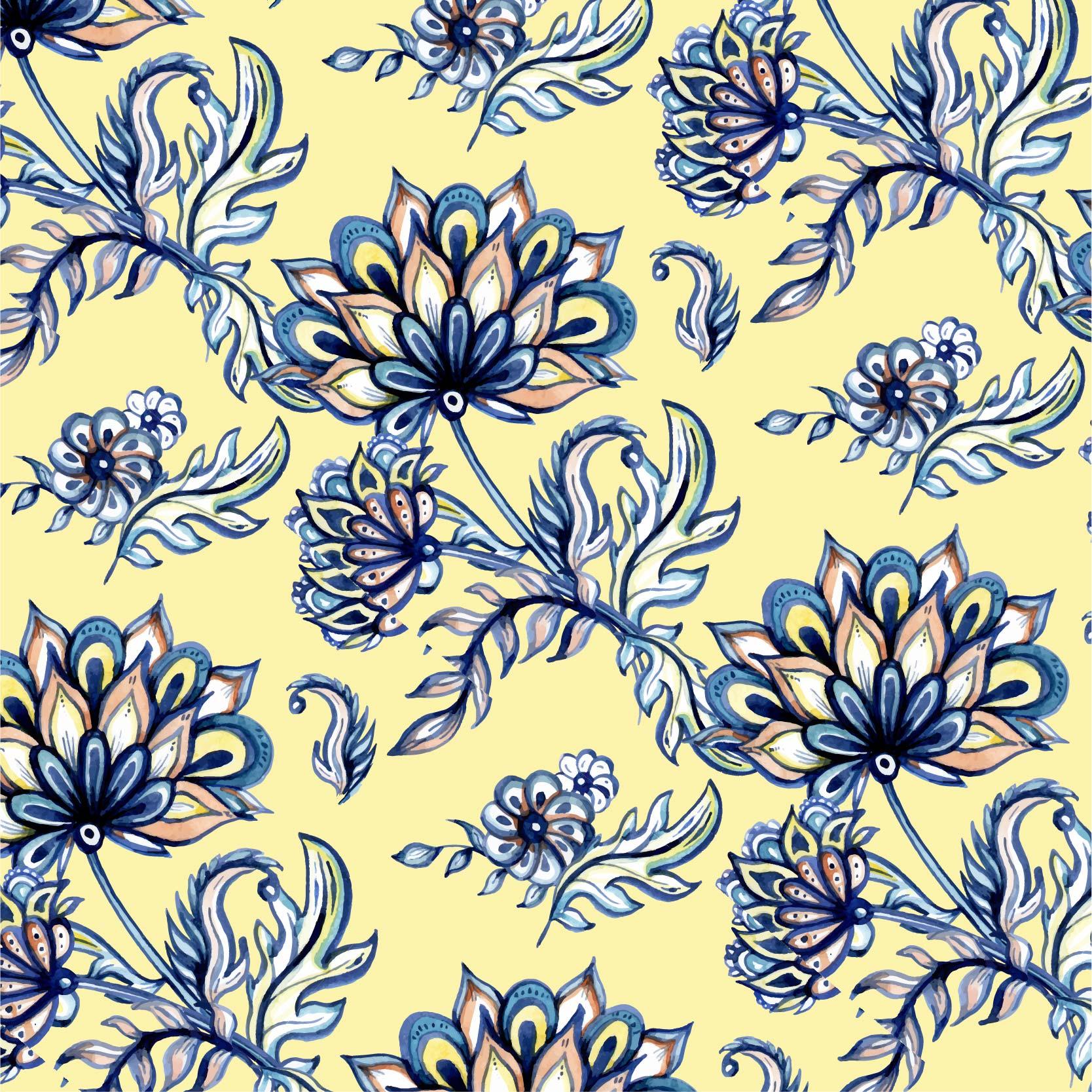 几何植物花朵拼接印花矢量图服装纺织面料数码印花花型素材-POP花型网