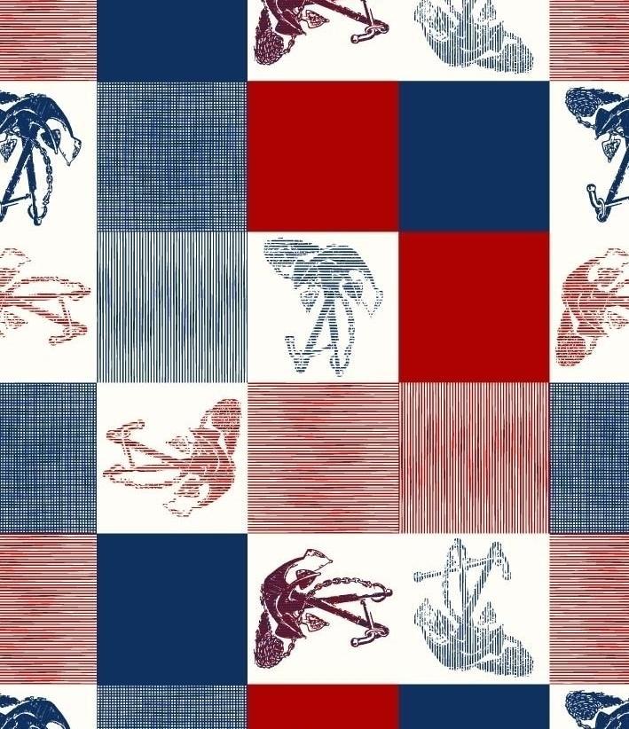 几何方块船锚拼接印花矢量图服装纺织面料数码印花花型素材-POP花型网