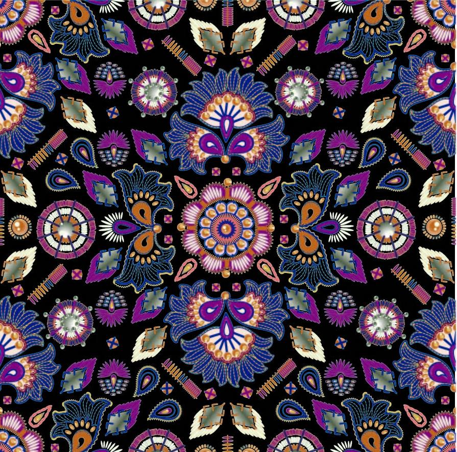 几何民族风图案印花矢量图服装纺织面料数码印花花型素材-POP花型网