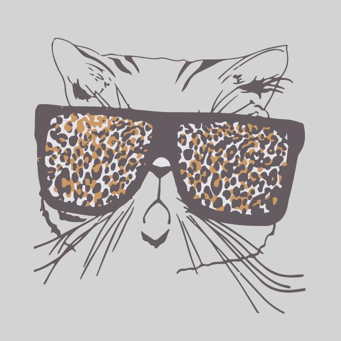 猫咪墨镜豹纹印花矢量图服装裁片T恤烫图印花花型素材-POP花型网