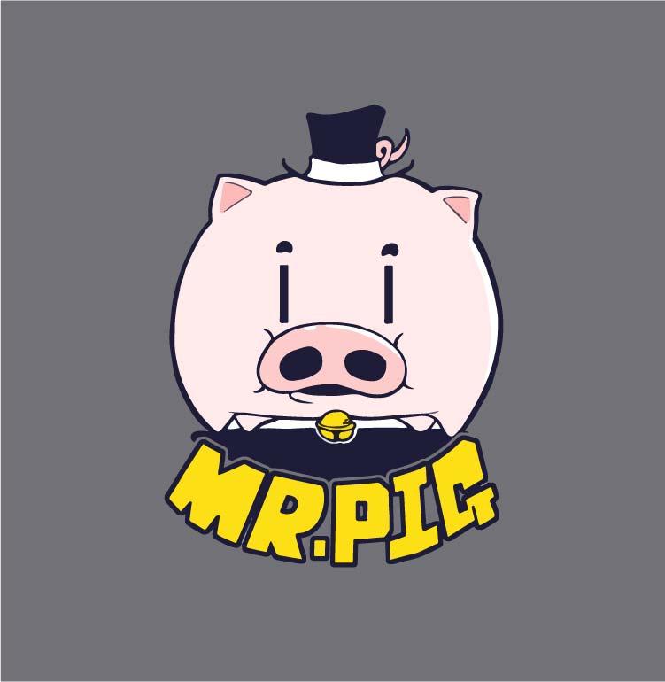 卡通动漫小猪字母印花矢量图服装裁片T恤烫图印花花型素材-POP花型网