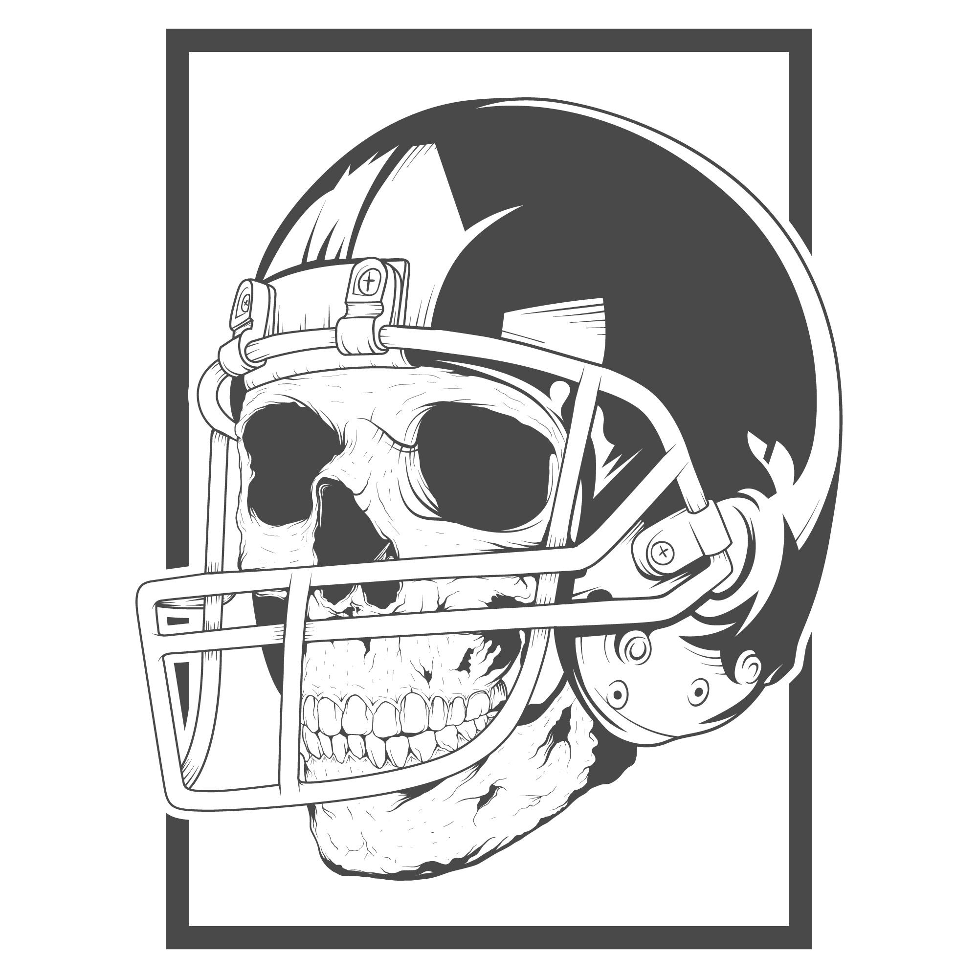 几何骷髅头橄榄球运动印花矢量图服装裁片T恤烫图印花花型素材-POP花型网