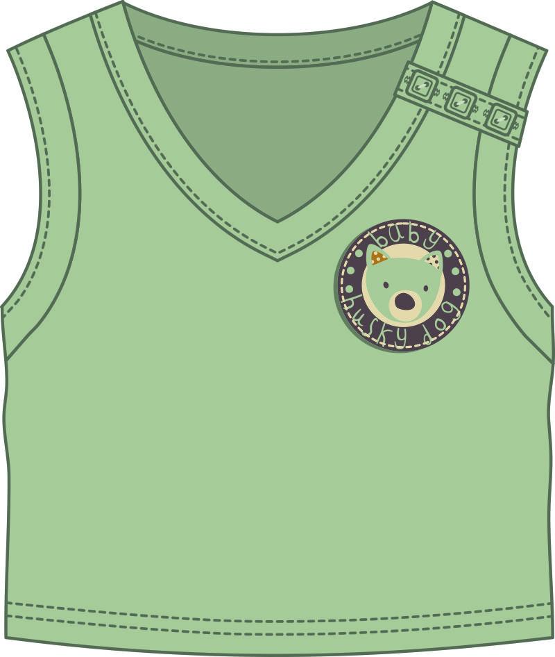 儿童服装无袖上衣设计矢量图-POP花型网