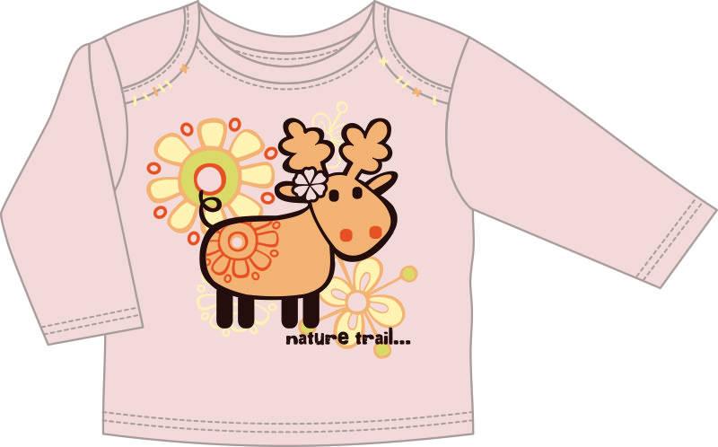 儿童服装长袖T恤设计矢量图卡通麋鹿印花花型-POP花型网