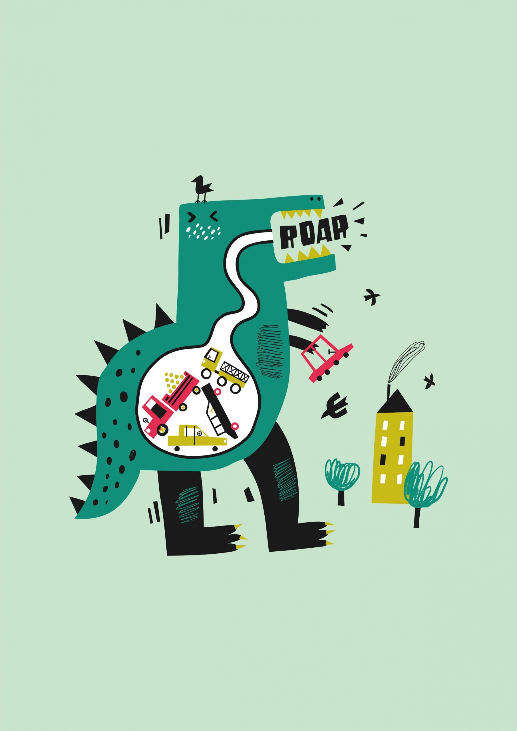 卡通恐龙字母印花矢量图儿童服装裁片T恤烫图印花花型素材-POP花型网