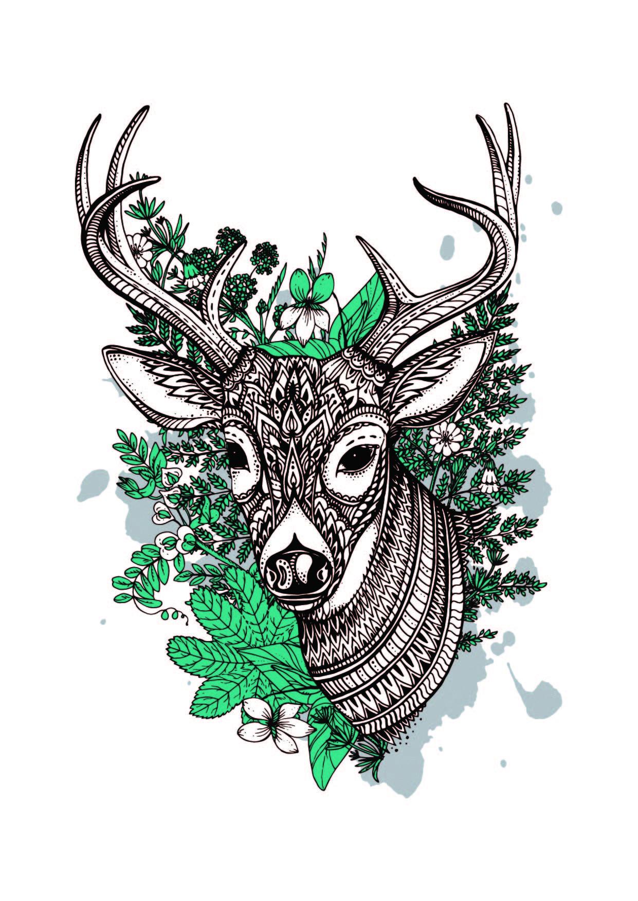 植物花卉几何线条拼接驯鹿印花矢量图服装裁片T恤烫图印花花型素材-POP花型网