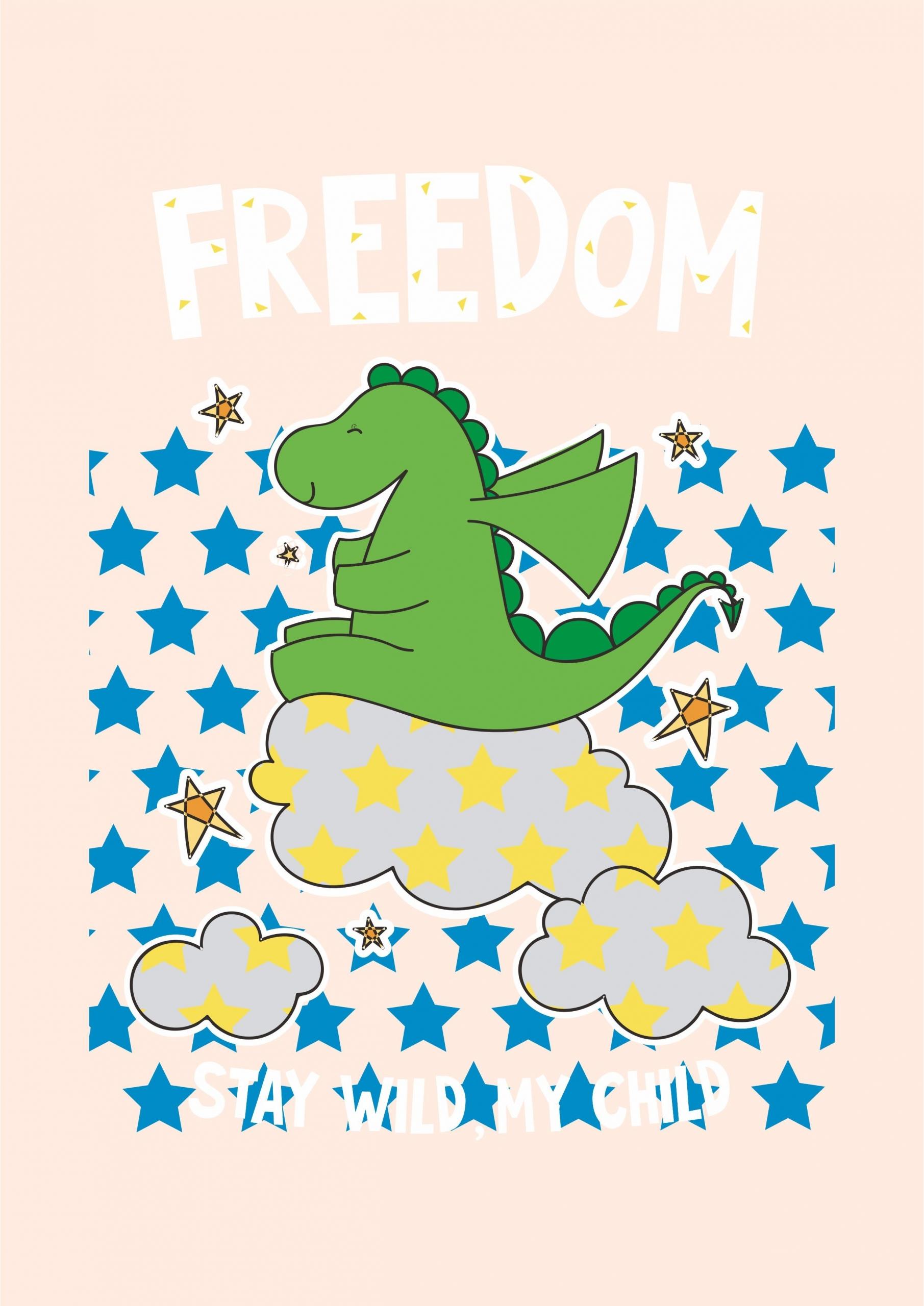 卡通动漫恐龙云朵字母星星拼接印花矢量图服装裁片T恤烫图印花花型素材-POP花型网