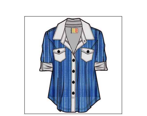 女装牛仔上衣设计矢量图-POP花型网