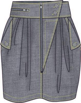 女装牛仔裙子设计矢量图-POP花型网