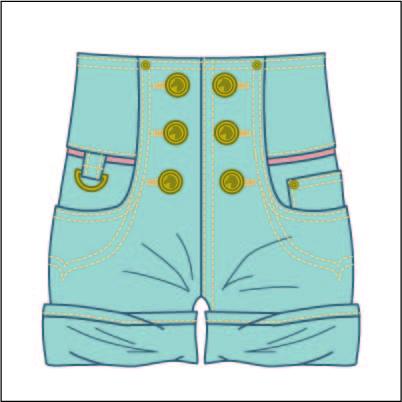 女装牛仔短裤设计矢量图服装设计素材-POP花型网