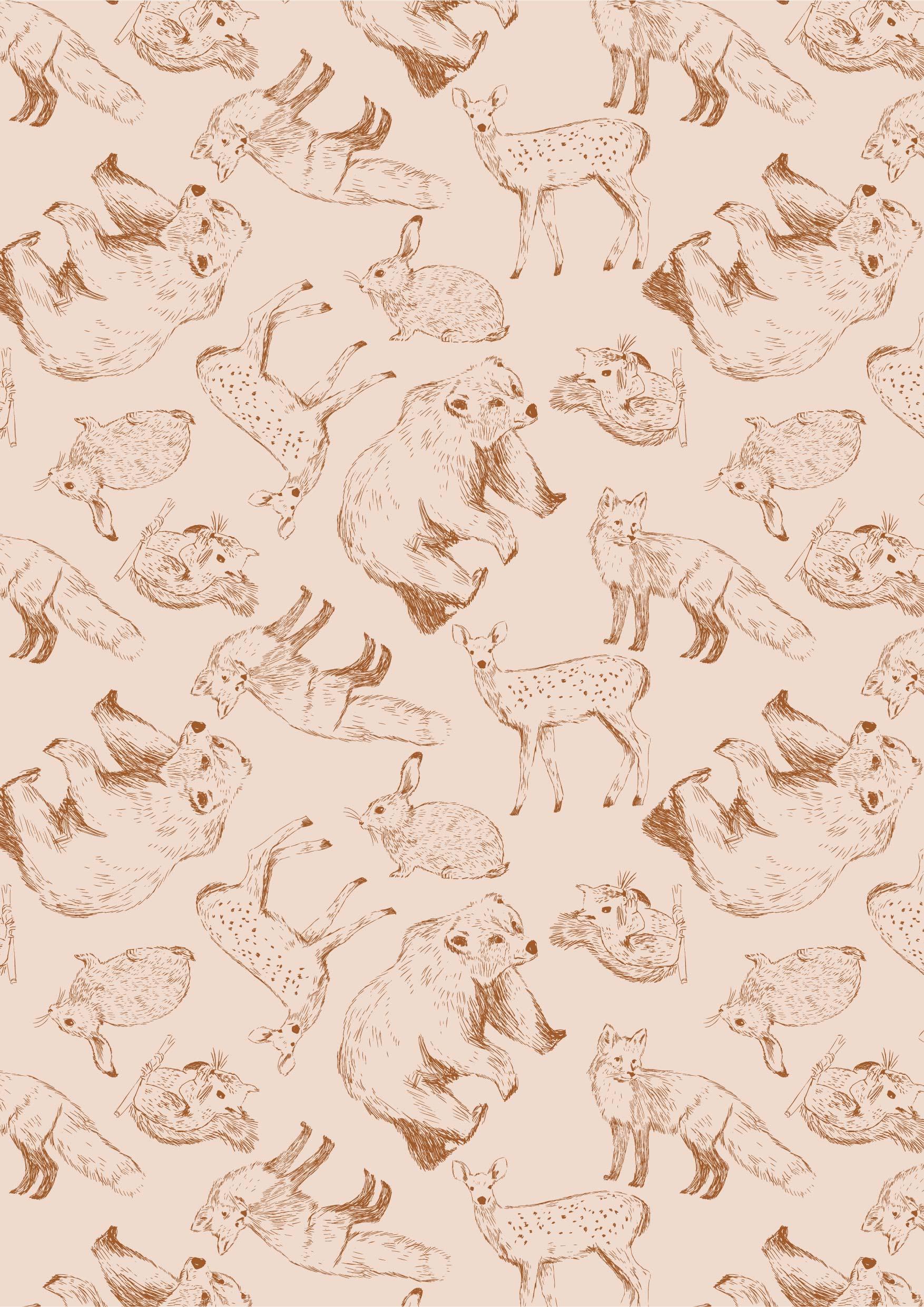 动物梅花鹿狐狸狗熊拼接印花矢量图服装纺织面料数码印花花型素材-POP花型网