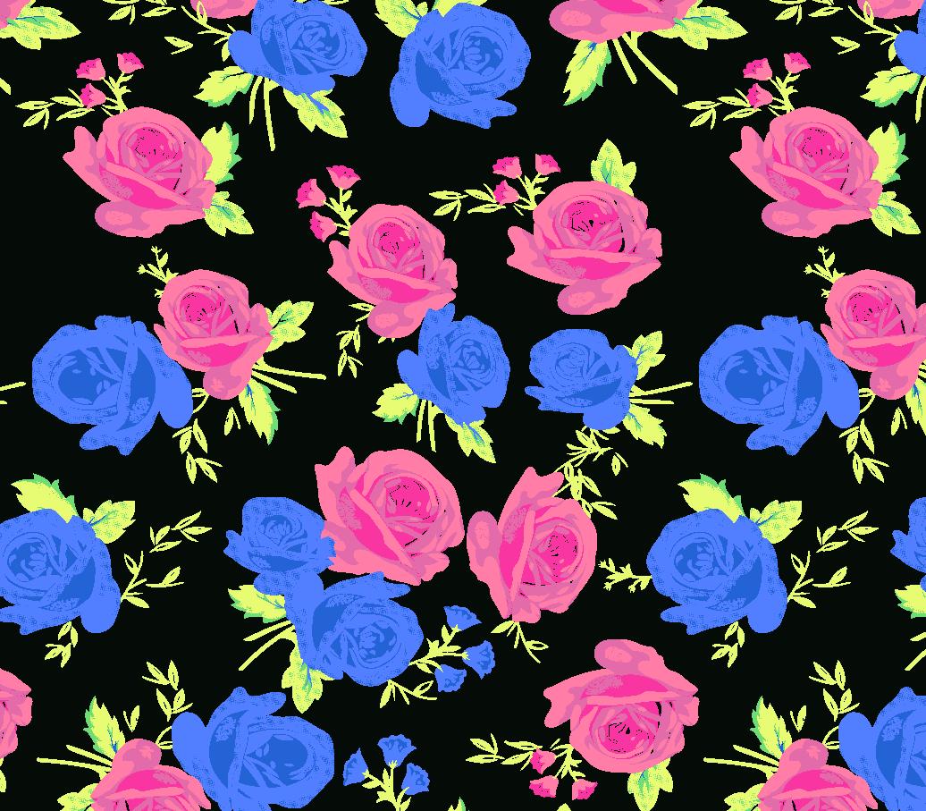 植物玫瑰花拼接印花矢量图服装纺织面料水印数码印花花型素材-POP花型网