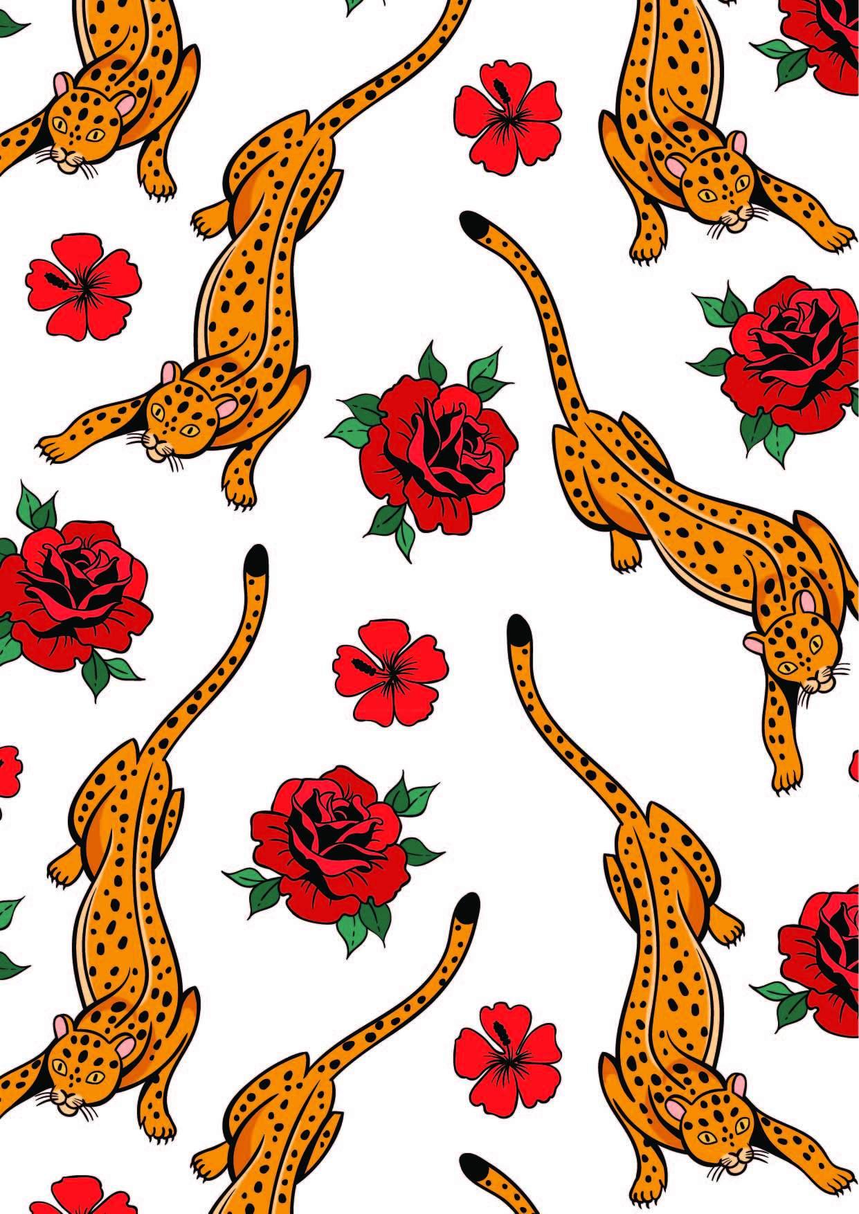 植物玫瑰花动物豹子印花矢量图服装纺织面料数码印花花型素材-POP花型网