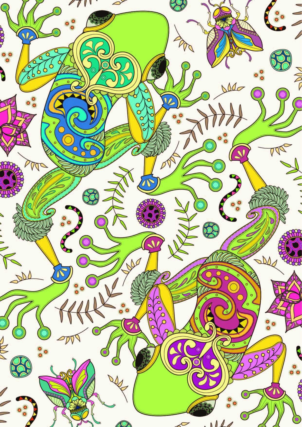 几何花纹青蛙印花矢量图服装纺织面料数码印花花型素材-POP花型网