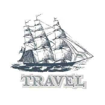 帆船字母印花矢量图服装裁片T恤烫图印花花型素材-POP花型网
