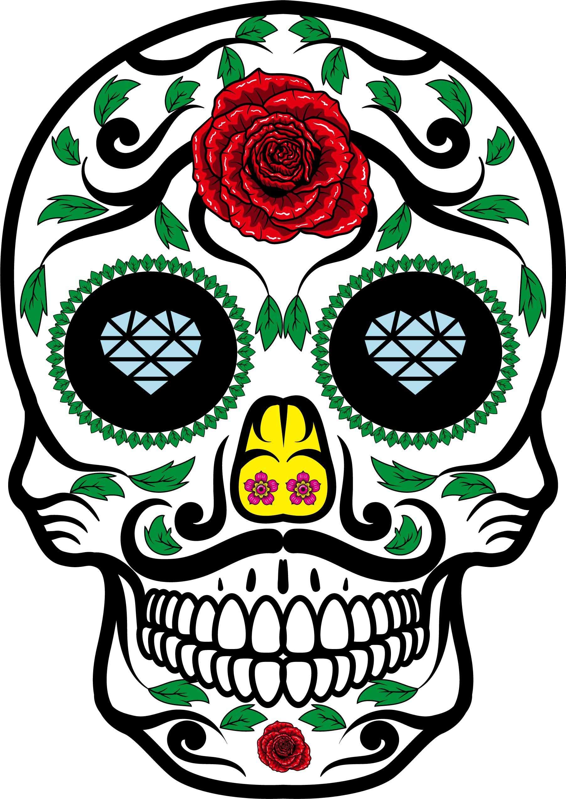 植物花纹骷髅头印花矢量图服装裁片T恤烫图印花花型素材-POP花型网